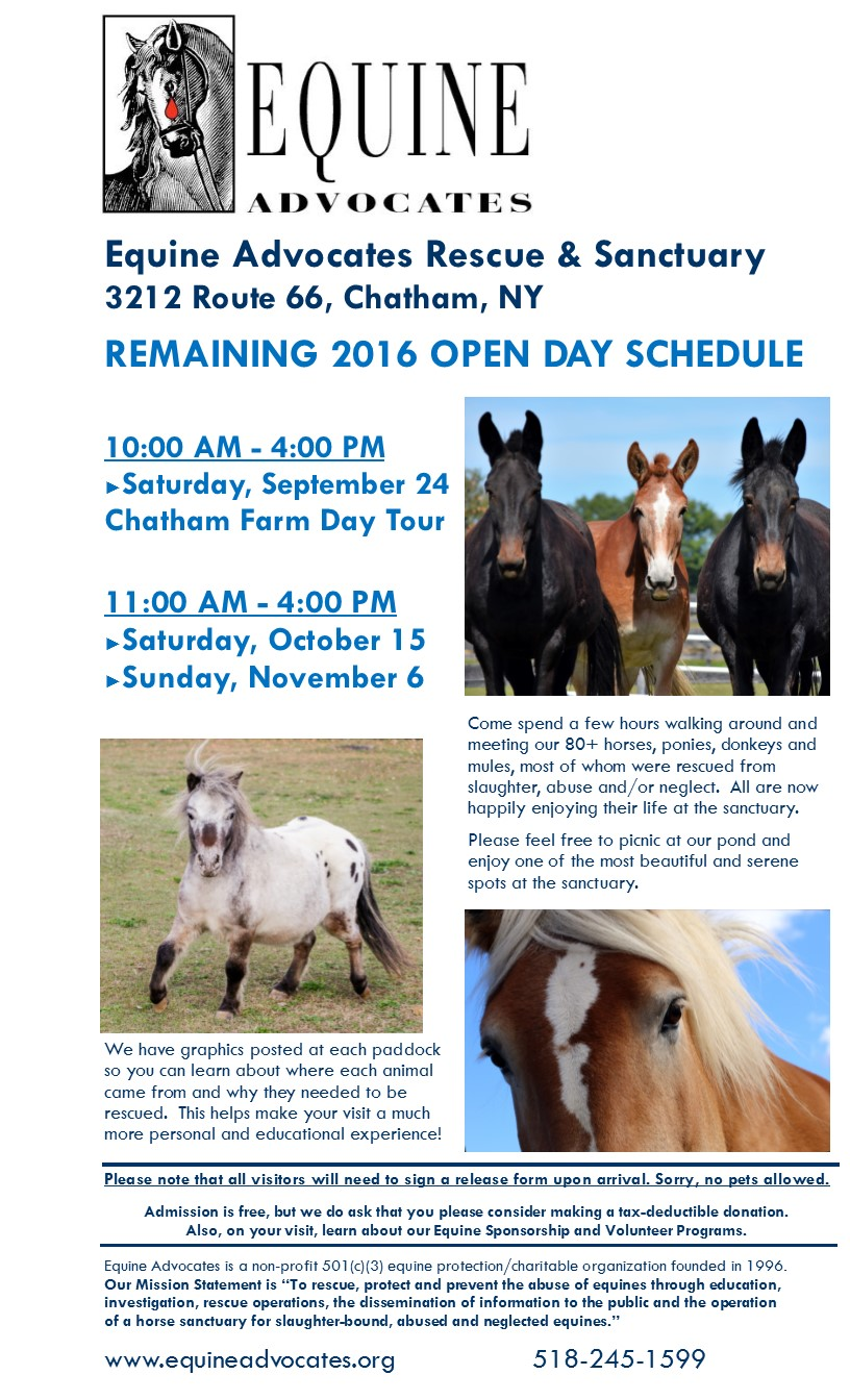 Chatham Area Farm Day September 24 from 10 AM 4 PM Equine – Equine Release Form